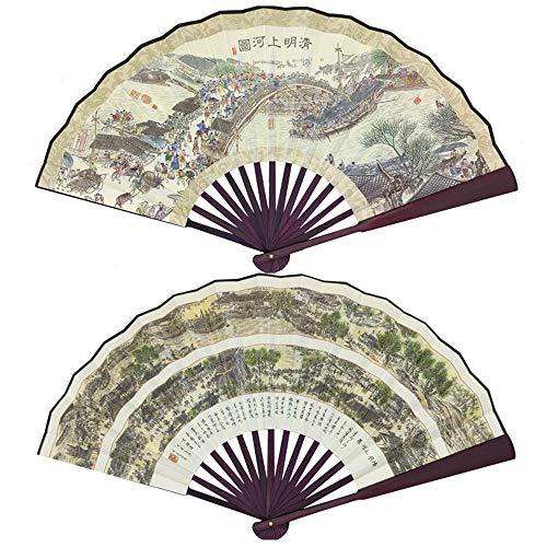 CYQ Faltfächer Hand Falten Fan, Handfächer mit traditionellen chinesischer Kunst, Bambus Stoffe Handfächern, mit einem Stoffe Sleeve (Farbe : E)