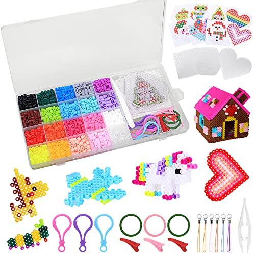 CGBOOM 2000PCS Perline da Stiro, Perline a Fusione 20 Colori 3 Pegboard per Il Tempo Libero Creativo,Set Gioco Creativo Natalizio Fai da Te per Bambini