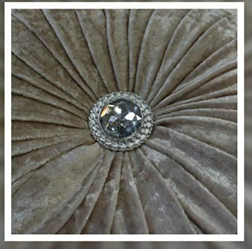 THL Round Filled Cushion With Glittery Stitched Diamond Sofa Cushion Chair Cushion (Beige, 35 x 35 cm (14x14Inch))