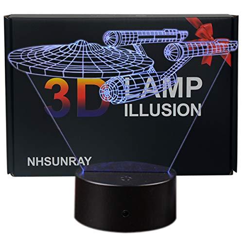 3D Optische Illusions-Lampen NHsunray LED 7 Farben Touch-Schalter Ändern Nachtlicht Für Schlafzimmer Home Decoration Hochzeit Geburtstag Weihnachten Valentine Geschenk (Star Trek)