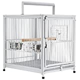 CONSIDERATE CARE: The bird cage features 2 large stainless steel food bowls on the door for convenient feeding. And the wooden perch inside provides a place for your cute feathered friend to rest on. LASTING DURABILITY: Constructed of heavy-duty wrou...