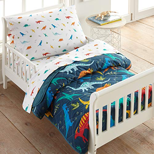 Wildkin 100% Cotton 4 Piece Toddler Bed-in-A-Bag for Boys & Girls, Bedding Set Includes Comforter, Flat Sheet, Fitted Sheet & Pillowcase, Bed Set for Cozy Cuddles, BPA-Free (Jurassic Dinosaurs)