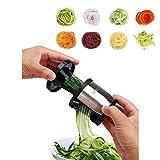 Cortador de verduras en espiralizador para verduras de mano, hogar, cocina, cortador de metal, para espaguetis, calabacines, verduras, embudo, cortador de verduras, espiralizador de verduras