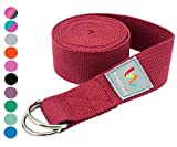 Wacces D-Ring Buckle Cotton Yoga Straps Bands - Best for Stretching - (10 ft - Red)