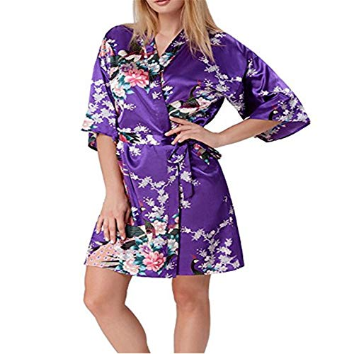 Damen Morgenmantel Kimono Satin Kurz Nachtwäsche Bademantel Robe Schlafanzug Mit Peacock und Blumen,Peacock Robe Sleeve Silk Pyjama Bademantel Lila L