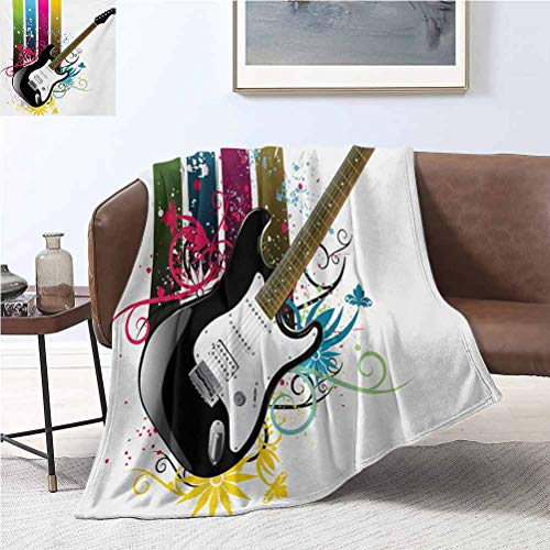alisoso Guitar Beach Blankets 50x65 Inch Bass Guitar on Colorful Vertical Stripes with Floral Natural Artistic Ornaments Super Soft Flannel Fleece Blanket Multicolor