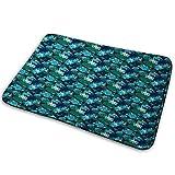 """Doormat Bath Rug Kitchen Floor Mat Carpet,Floral,Exotica Nature Elements on Dark Blue Background Rainforest Bloom,Flannel Microfiber Non-slip Soft Absorbent,23.6""""15.8"""",Dark Blue Green Yellow Blush"""