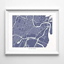 Newark New Jersey Street Road Map Home Decor Poster Urban City Hometown Wall Art Print - 70 Color Options - Unframed