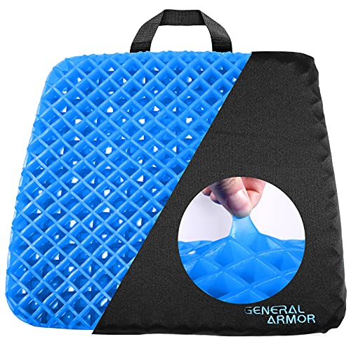 GENERAL ARMOR® Gel Chair Seat Cushion,Office Chair Cushion Pad for Lower Back Pain, Sciatica,Tailbone,Hip and Back Pressure Relief,Orthopedic Seat Pads for Wheelchair, Car Seats, Office Chairs