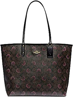 Reversible City Tote In Signature Canvas With Moon Print Brown Purple Multi/Black
