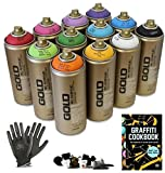 Graffiti – Pack 12 Spray de pintura latas, guantes de protección + Try-out Cap Set – perfecto para principiantes.