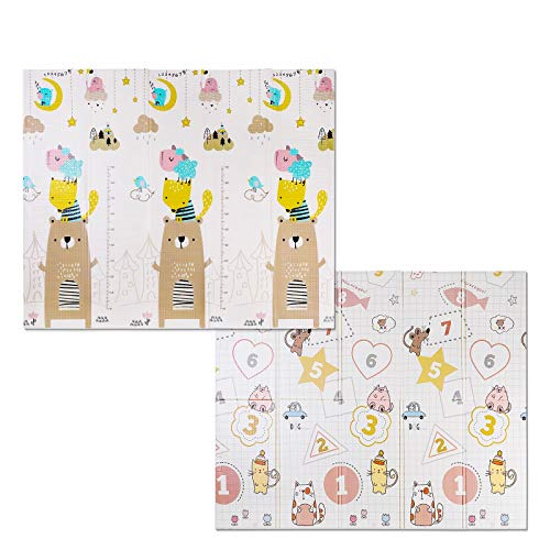 Bamny Babymatte Spielmatte Baby Puzzlematte Faltbarer Krabbelmatte XPE-Schaumboden, Doppelseiten spielbar, Wasserdicht, Rutschfest, BPA Frei, 200 * 180 * 1cm - Bär