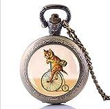 GPWDSN Relojes de Bolsillo para Hombres, Reloj Personalizado, Gargantilla Retro con Gato en Bicicleta Collar con Reloj de Bolsillo con Bicicleta Hipster, Amantes de la Bicicleta Regalo