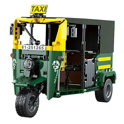 Fujinfeng Tuk Tuk Taxi Bausteine Bausatz, Dreirad Collection Series für Erwachsener und Kind, 591 Klemmbausteine Motorrad Modell Kompatibel mit Lego