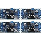 4 Pieces Adjustable LM2596S DC-DC Buck Converter Reduced Voltage Regulator Power Module 36V 24V 12V to 5V 2A Voltage Stabilizer with Digital Voltmeter Display