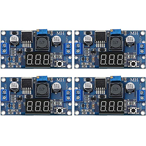 4 Stücke Einstellbarer LM2596S DC-DC Abwärtswandler Abwärt Spannungsregler Leistungsmodul 36V 24V 12V bis 5V 2A Spannung Stabilisator mit Digitaler Voltmeter Anzeige