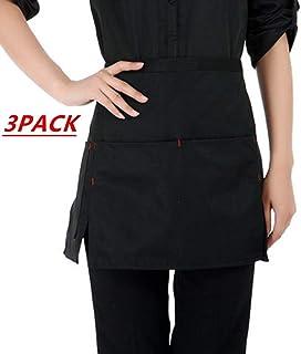 JEQUE 3 Pack Kitchen Restaurant Waist Aprons with 3 Large Pockets for Women Men, Half Short Apron for Server Waiter Waitress, Deep Pockets for Holding Sever Book,Side Slit,Black
