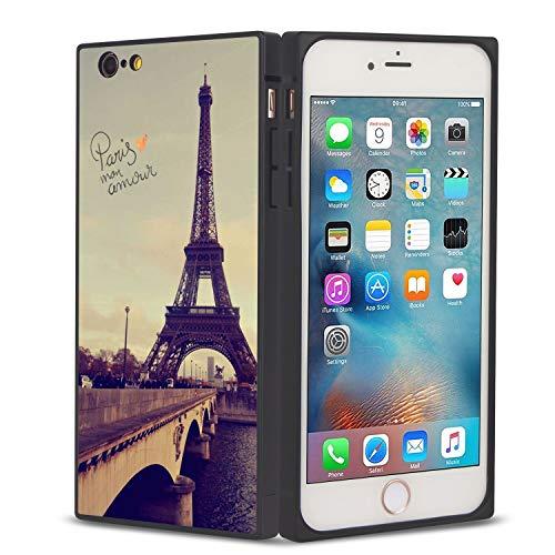 FAUNOW Funda cuadrada para iPhone 6/6S Plus con borde de TPU de la torre Eiffel y protección de cuerpo completo con esquinas reforzadas