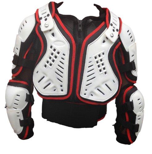 Adulto Motocross Giacca Enduro Off-Road Pettorina Corazza Moto Scooter Armatura MX Protezioni Rosso/Bianco (L)