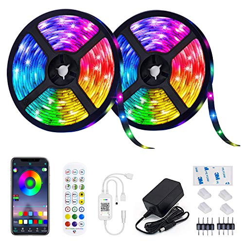 LED Strip Lights, COCOCKA 32.8ft Waterproof RGB Light Strip Color Changing 5050 LED Tape Lights 300 LEDs with Remote and Adapter, Bluetooth LED Lights for Bedroom, Home, Kitchen, Party