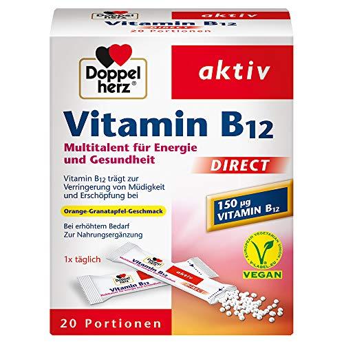 Doppelherz Vitamin B12 DIRECT Micro Pellets/Nahrungsergänzungsmittel bei erhöhtem Bedarf/Pellets mit Vitamin B12 als Beitrag für den normalen Energiestoffwechsel/1 x 20 Portionen