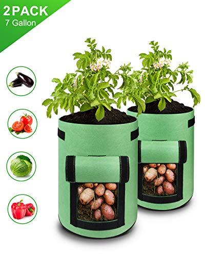 deepee 2 Stück Kartoffel Pflanzbeutel mit Zwei Fenster und Klettverschluss, Vlies Pflanzen Tasche für Kartoffeln, Karotten, Tomaten(Grün, 7 Gallonen)