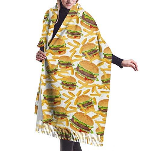 First Ring Wickeln Sie Hamburger und Pommes Frites Frauen Winter warme Schal Mode lange große weiche Kaschmir Schal Wickelschals,