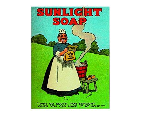 Ecool Sunlight zeep waarom naar het zuiden gaan voor zonlicht als je het thuis kunt hebben retro shabby chic vintage stijl ingelijst print vintage stijl foto muur plaque teken (A3)