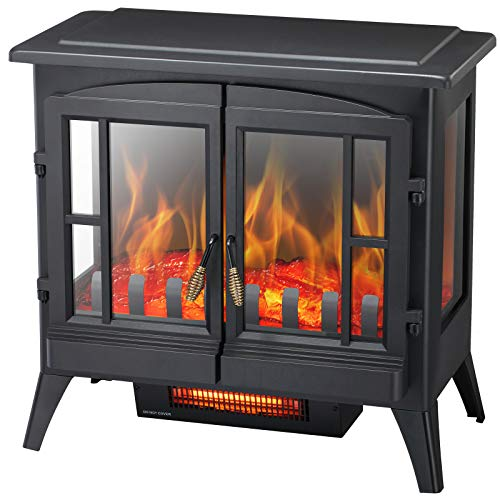 Kismile 3D Infrared Electric Fireplace Stove, Freestanding Fireplace Heater With Realistic Flame Effects, Portable Indoor Space HeaterWith Overheating Safety System, Adjustable Brightness (23.6 inch)