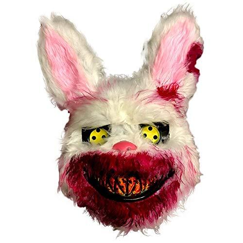 Halloween Maske, Plüsch Verdammter Hase Maske, Gruseliges Gesicht Horror Masken Halloween Kostüm Realistische Blutige Simulation Kaninchen Kopfbedeckung Performance Prop Für Halloween Maskeraden