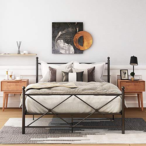 Lena Metallbett mit Kopf- und Fußteil, Bett für Schlafzimmer der Kinder, Jugendliche, Erwachsene, Gästebett, Schwarz