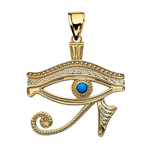 Egyptian Ankh Crosses 10K Amarillo Oro Egipcio Azul Ojo de Horus Colgante