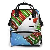 Smile Gaze Snowman Bolsa de pañales multifunción para el cuidado del bebé Mochila de viaje abierta impermeable para organización
