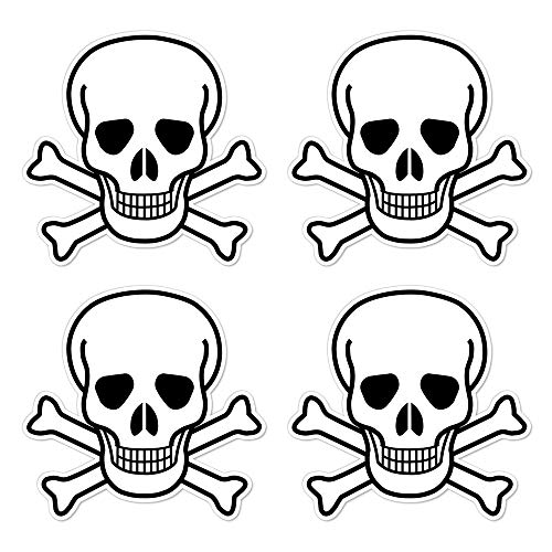 dealzEpic - Die Cut Skull and Crossbones Sign Symbol - Self Adhesive Peel and Stick Vinyl Decal/Cool Laptop Sticker - 3.94 x 3.94 inches | Pack of 4 Pcs