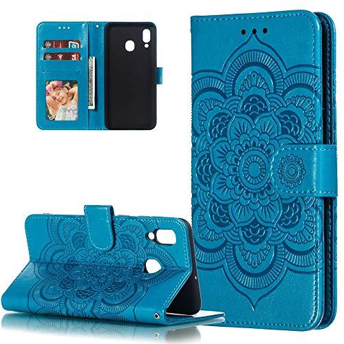 HMTECH Für Huawei P Smart 2019 Hülle,Für Huawei Honor 10 Lite Handyhülle Prägung Mandala-Blume Flip Case PU Leder Cover Magnet Schutzhülle Handytasche für Huawei P Smart 2019,LD Mandala Blue