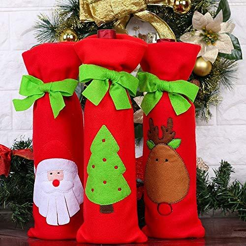 CHYCET Decorazioni Natalizie Elementi Decorativi Bottiglia Rosso di Babbo Natale Natale Pupazzo di Neve Imposta Il Ristorante Legame del Vino Sacchetto Regalo Bag (Tre Pezzi) Sacchetto del Vino