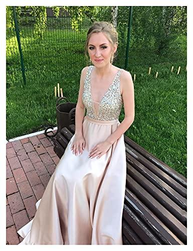 TDIDOJQ Abito da Sera Senza Schienale con Scollo a V Collo a V Perline A-Line Beaded Crystal Bodice PartyFormal Prom Gown (Color : Champagne, US Size : 8)