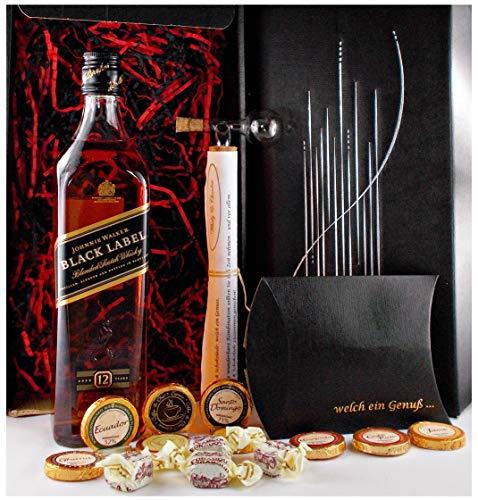 Geschenk Johnnie Walker 12 Jahre Black Label scotch Whisky + Glaskugelportionierer + Edelschokolade + Fudge