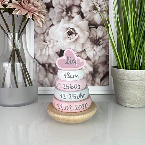 Personalisierter Stapelturm rosa personalisierbar mit Geburtsdaten, personalisiertes Baby Holzspielzeug, Geschenk zur Geburt