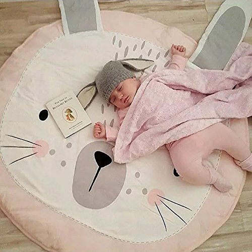 Hiltow Kids Nursery Rug Children Play Mat Round Carpet Cartoon Rabbit Design Home Room Decor(Size:35X37 inches)