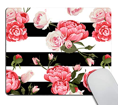 Smooffly Gaming Mouse Pad Custom,Peony and Roses Customized Rectangle Non-Slip Rubber Mousepad 9.5 X 7.9 Inch (240mmX200mmX3mm)