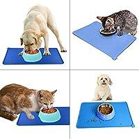 ペット用食事マット 猫 犬 シリコン製 ボウル置き用 溢れ止め ブルー