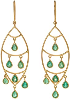 Gehna 18KT Yellow Gold and Emerald Drop Earrings for Women (GHCSER-652)