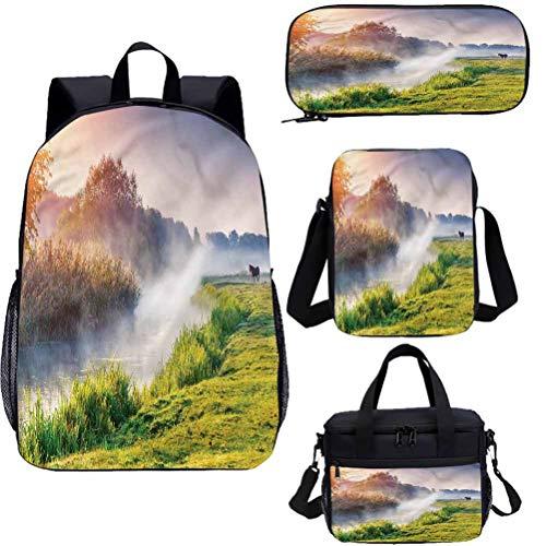 River 17 pulgadas mochila con bolsa de almuerzo conjunto de estuche, Ucrania Fresh Green Grass 4 en 1 conjuntos de mochila