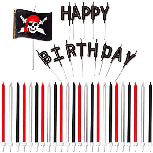 Pirate Birthday Party Candles with Skull Flag (Black, Red, Silver, 38-Count)