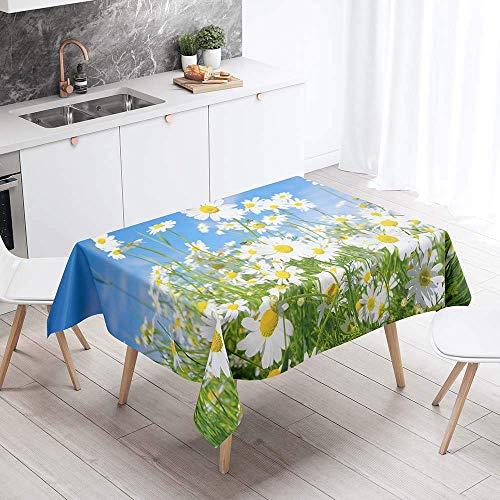 Manteles impermeables rectangulares, mantel resistente a las manchas, fácil de limpiar, moderno, estampado floral, cubierta de mesa para el hogar, cocina, comedor, jardín, fiesta, boda, decorativ