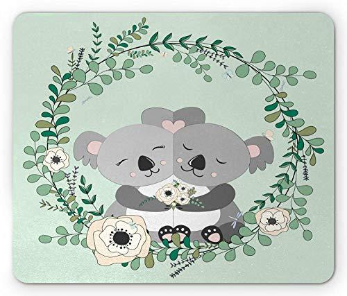 Koala muismat, Koalas knuffelen met Eucalyptus en Bloemenkrans om hen heen, rechthoek anti-slip rubberen muismat