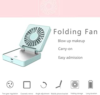 Portable Mini Fan 2 in 1 Mini Handheld Fan Fold Vanity Makeup Mirror Pocket Fan USB Rechargeable Personal Fan with 2 Setting 170° Rotating Free Adjustment for Office/Camping/Travel (Blue)