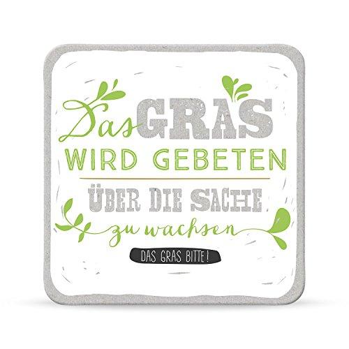 Sheepworld, Happy Life - 44592 - Untersetzer Nr. A18, Das Gras wird gebeten über die Sache zu wachsen Das Grass bitte!, Kork, 9,5cm x 9,5cm
