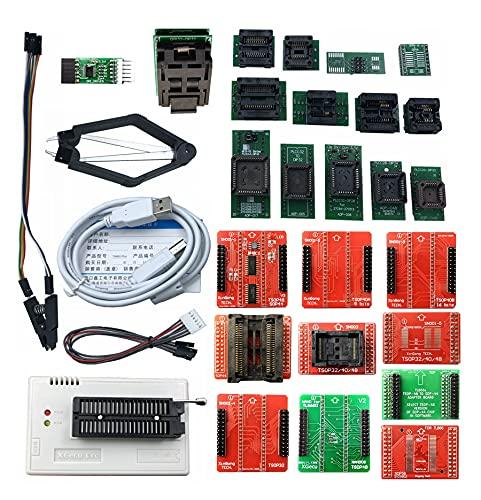XGECU TL866II 플러스 USB 프로그래머가있는 블랙 ZIF 소켓 지원 플래시 NAND에 대한 15000+ ICS EPROM 8051 MCU PIC AVR GAL + 25 어댑터 + SOP8 테스트 클립